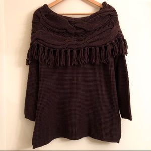 Soft Surroundings Sweaters - Soft Surroundings Sweater Chelsea Fringe Brown